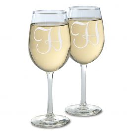 Wine Glass with Initial