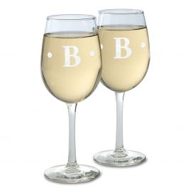 Personalized Stemmed Wine Glass with Initial