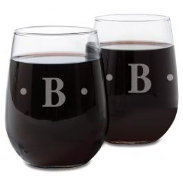 Personalized Stemless Wine Glass with Initial