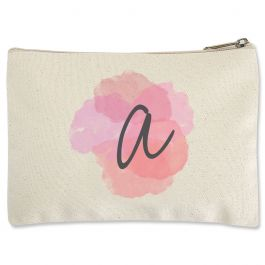 Personalized Watercolor Initial Zippered Pouch - Small