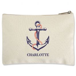 Personalized Anchor Zippered Pouch - Small