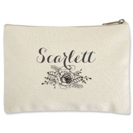 Personalized Floral Name Zippered Pouch - Small