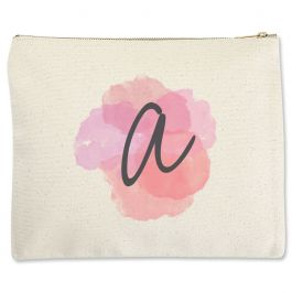 Personalized Watercolor Initial Zippered Pouch - Large