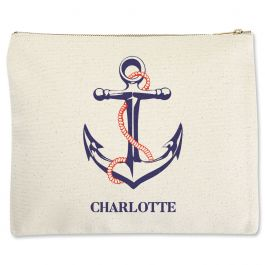Personalized Anchor Zippered Pouch - Large