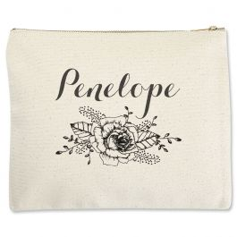 Personalized Floral Name Zippered Pouch - Large