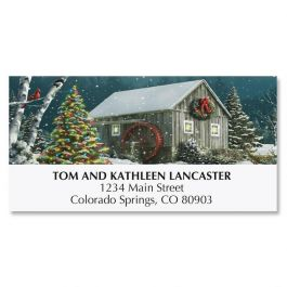 Falling Snow Christmas Deluxe Address Labels