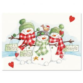 Snowmen Trio Nonpersonalized Christmas Cards - Set of 72