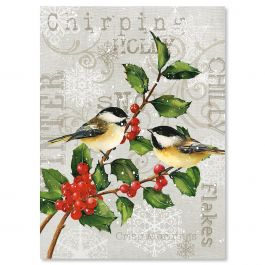 Chickadees and Holly Christmas Cards - Personalized