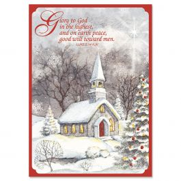 Snowy Church Christmas Cards - Personalized