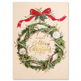 Shell Wreath Christmas Cards