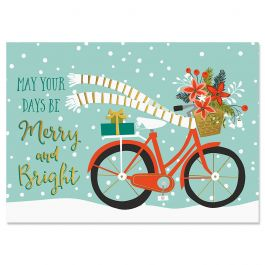 Bicycle Holiday Christmas Cards - Personalized