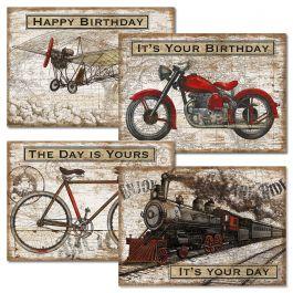 Vintage Transportation Birthday Cards