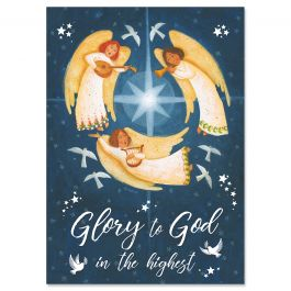 Angel Flight Religious Christmas Cards - Personalized
