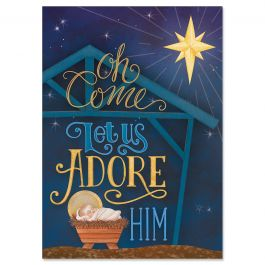 Adore Him Christmas Cards - Personalized