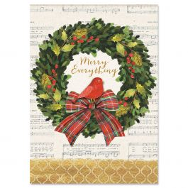 Merry Wreath Christmas Cards - Personalized