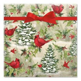 Tree Cardinal Jumbo Rolled Gift Wrap