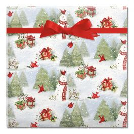 Snowy Cardinals Jumbo Rolled Gift Wrap