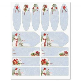 Snowy Cardinals Gift Wrap To/From Labels