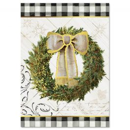 Checked Border Wreath Christmas Cards - Personalized