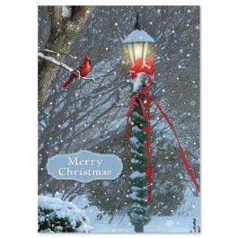 Luminous Lamp Post Christmas Cards - Personalized