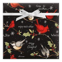 Birds on Black Jumbo Rolled Gift Wrap