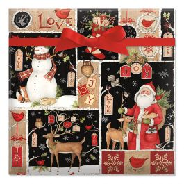 Woodland Christmas Collage Jumbo Rolled Gift Wrap