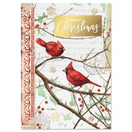 Christmas Birds Deluxe Christmas Cards - Personalized