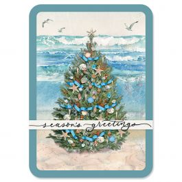Beach Tree Christmas Cards - Personalized
