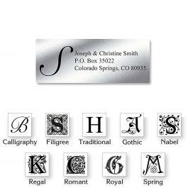 Monogram Silver Foil Address Labels - 96 Count Sheets