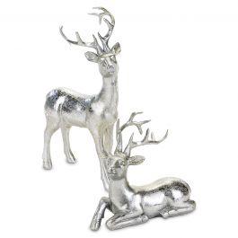 Silver Reindeer Figurines - Set of Both