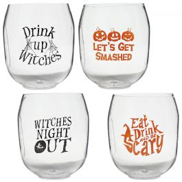 Unbreakable Halloween Wine Glasses - Set of all 4