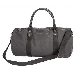 Personalized Leather and Waxed Canvas Duffel - Black
