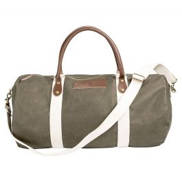 Personalized Leather and Waxed Canvas Duffel - Greenish Brown