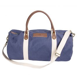 Personalized Leather and Waxed Canvas Duffel - Navy