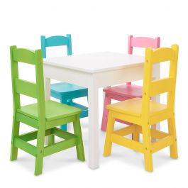 Personalized Pastel-Color Chairs and Natural-Finish Table by Melissa & Doug®
