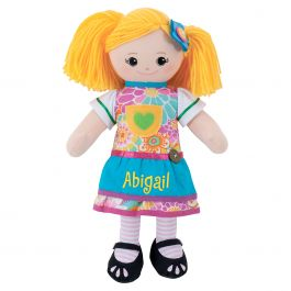 Blonde Rag Doll with Apron Dress