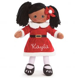 African American Rag Doll in Santa Dress