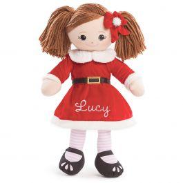 Brunette Rag Doll in Santa Dress