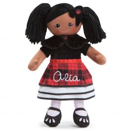 African American Rag Doll in Plaid Dress