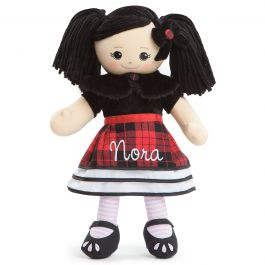 Asian Rag Doll in Plaid Dress