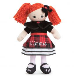 Red-Hair Rag Doll in Plaid Dress
