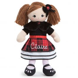 Brunette Rag Doll in Plaid Dress