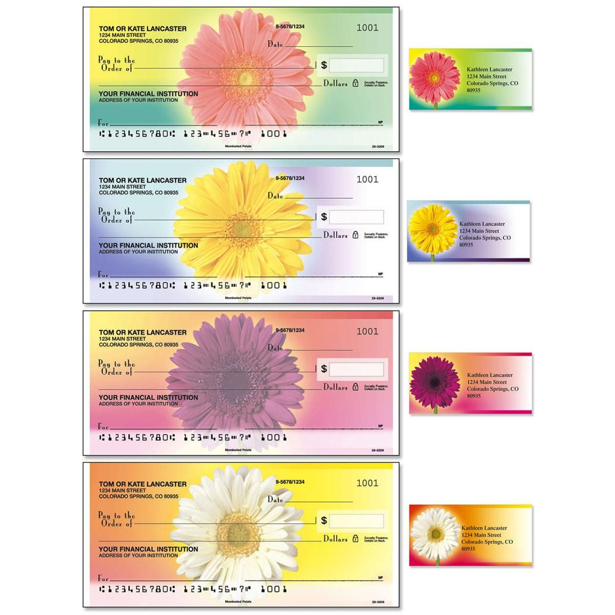 Illuminated Petals Duplicate Checks With Matching Address Labels
