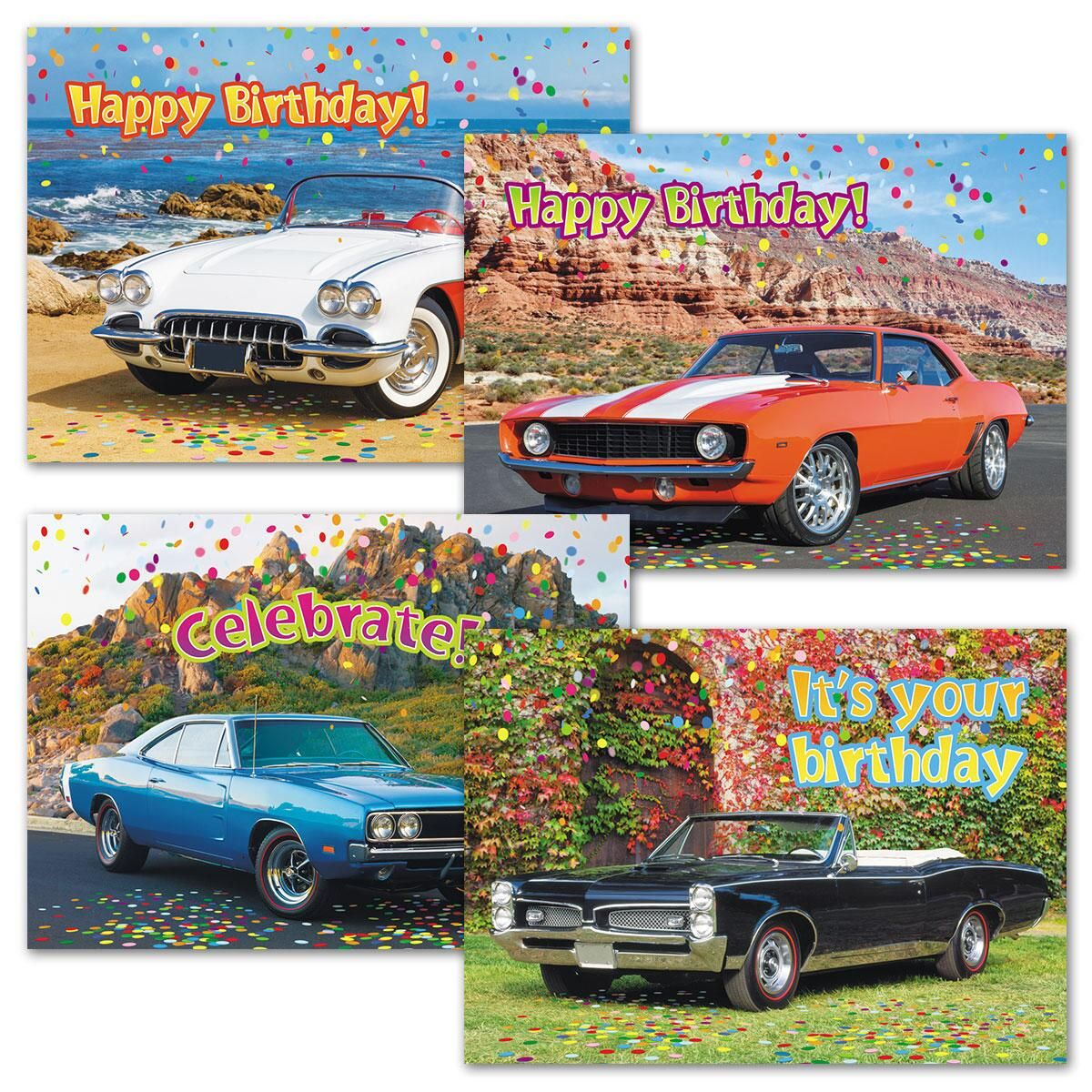 Classic Cars Birthday Cards & Seals