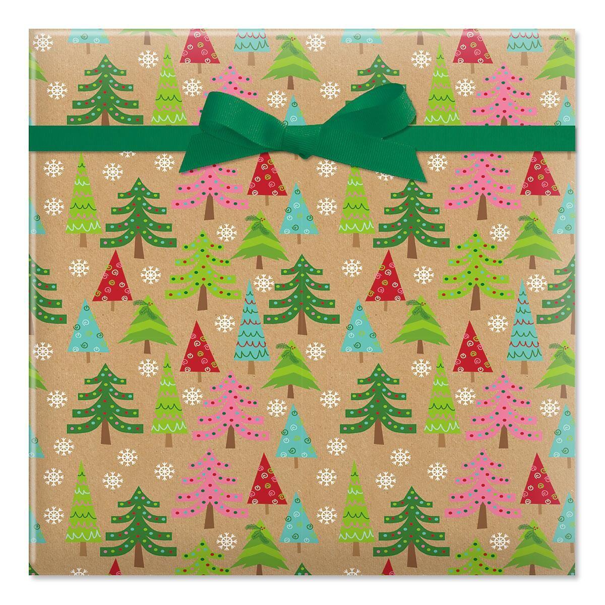 Christmas Trees Kraft Jumbo Rolled Gift Wrap