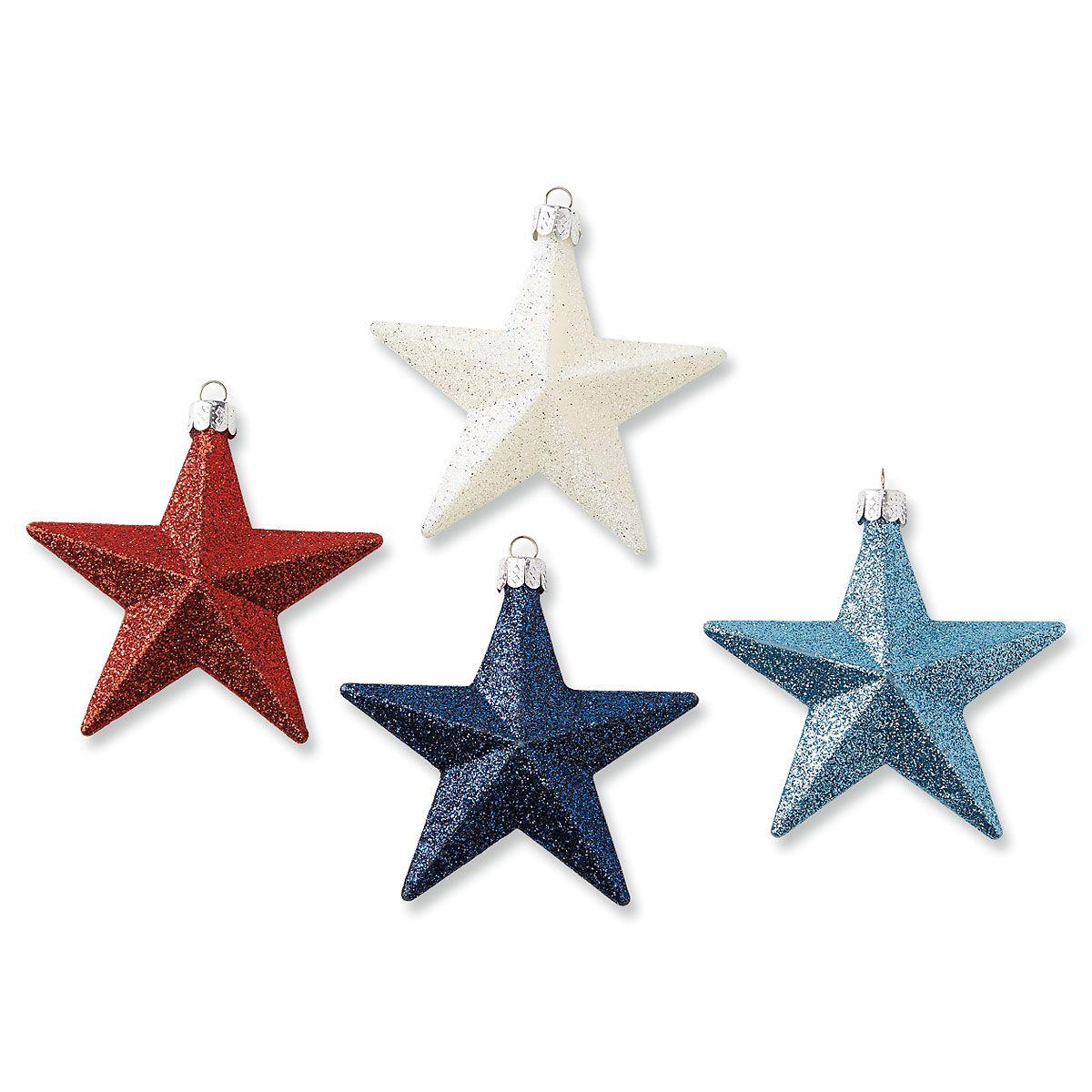 Glitter Star Patriotic Ornaments