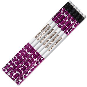 Pink Leopard #2 Hardwood Personalized Pencils