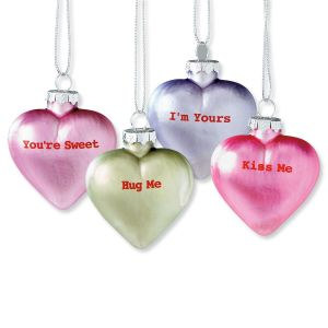 Glass Heart Ornaments