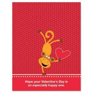 Valentine Monkey Personalized Cards