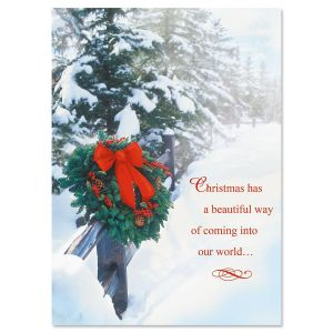 Holiday Wreath Nonpersonalized Christmas Cards - Set of 72
